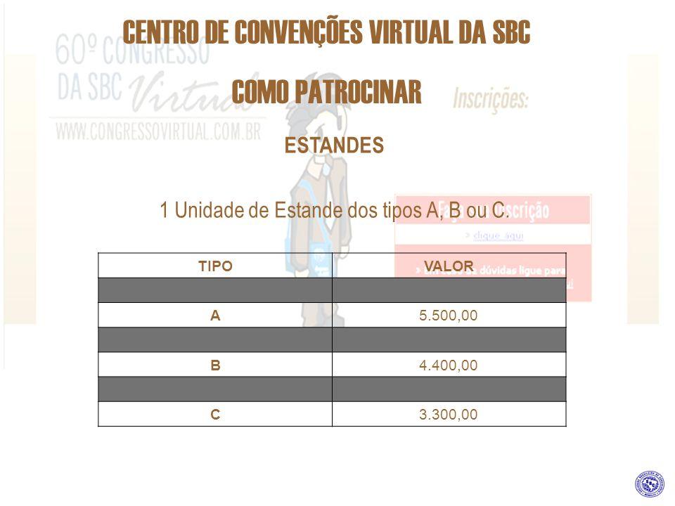 CENTRO DE CONVENÇÕES VIRTUAL DA SBC COMO PATROCINAR ESTANDES 1 Unidade de Estande dos tipos A, B ou C. TIPOVALOR A5.500,00 B4.400,00 C3.300,00