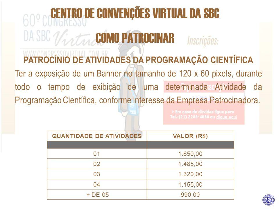 CENTRO DE CONVENÇÕES VIRTUAL DA SBC COMO PATROCINAR PATROCÍNIO DE ATIVIDADES DA PROGRAMAÇÃO CIENTÍFICA Ter a exposição de um Banner no tamanho de 120