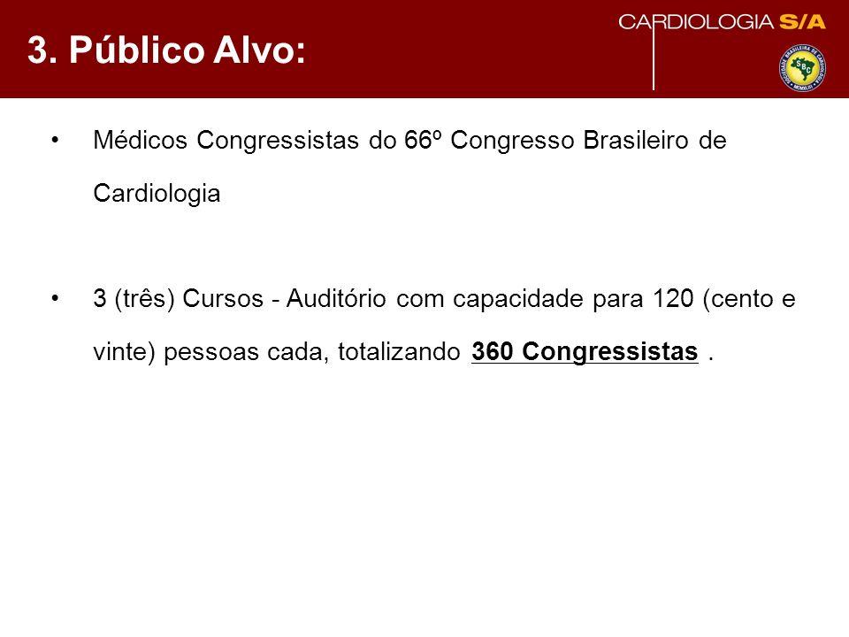 3. Público Alvo: Médicos Congressistas do 66º Congresso Brasileiro de Cardiologia 3 (três) Cursos - Auditório com capacidade para 120 (cento e vinte)