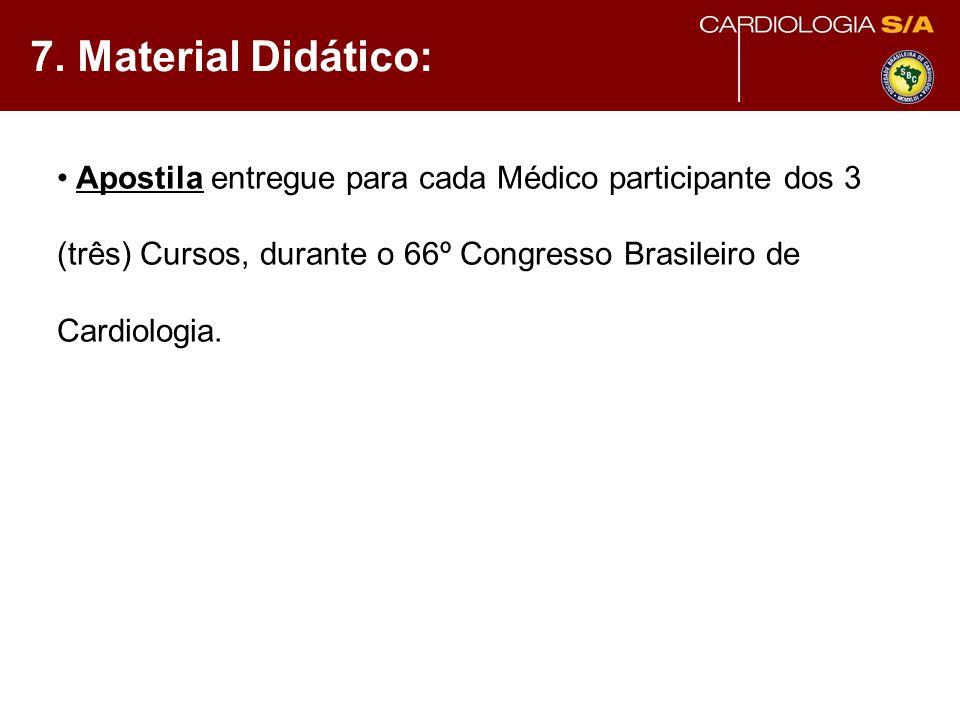 7. Material Didático: Apostila entregue para cada Médico participante dos 3 (três) Cursos, durante o 66º Congresso Brasileiro de Cardiologia.