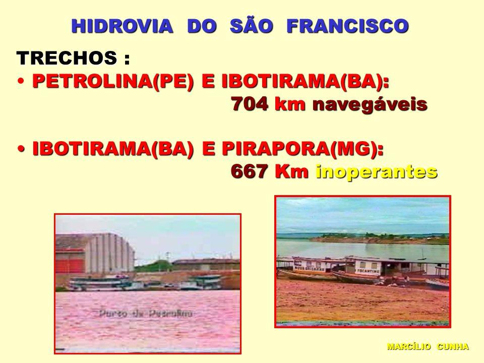 HIDROVIA DO SÃO FRANCISCO TRECHOS TRECHOS : PETROLINA(PE) E IBOTIRAMA(BA): 704km navegáveis 704 km navegáveis IBOTIRAMA(BA) E PIRAPORA(MG): IBOTIRAMA(BA) E PIRAPORA(MG): 667Km inoperantes 667 Km inoperantes MARCÍLIO CUNHA