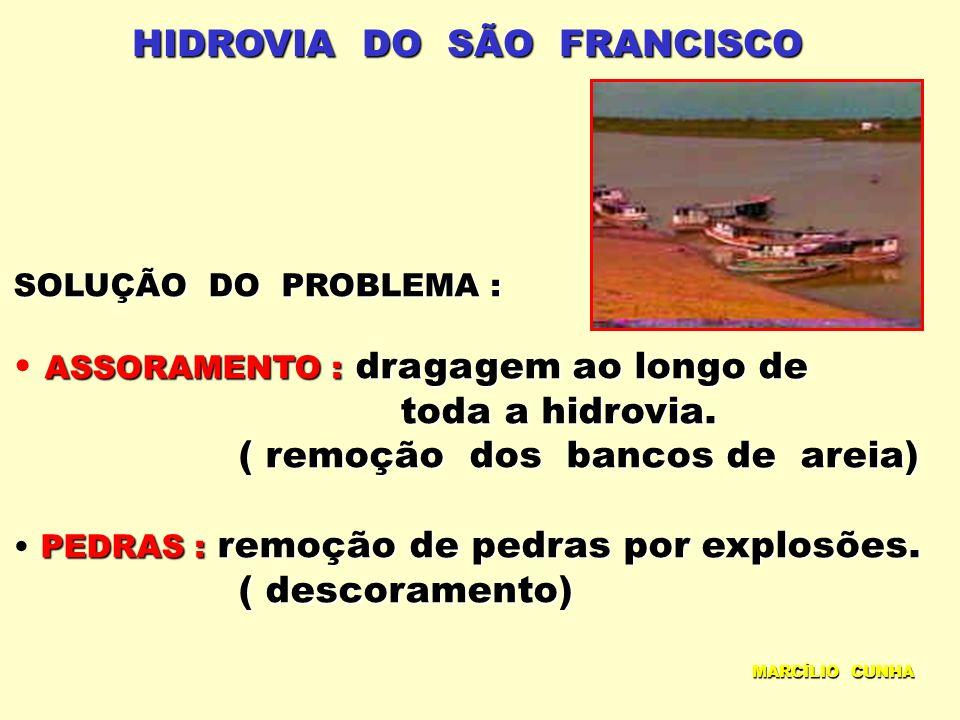 HIDROVIA DO SÃO FRANCISCO SOLUÇÃO DO PROBLEMA : ASSORAMENTO : dragagem ao longo de ASSORAMENTO : dragagem ao longo de toda a hidrovia. toda a hidrovia