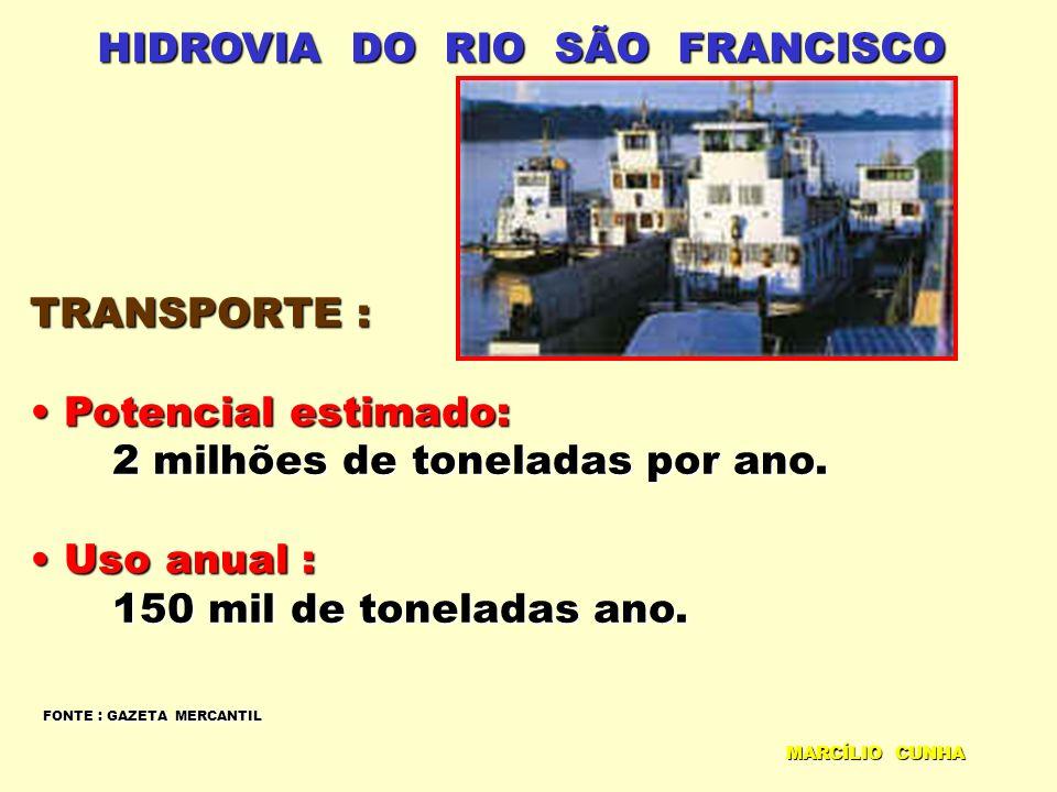 HIDROVIA DO RIO SÃO FRANCISCO TRANSPORTE : Potencial estimado: Potencial estimado: 2 milhões de toneladas por ano. 2 milhões de toneladas por ano. Uso