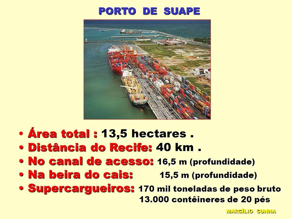 PORTO DE SUAPE Área total : 13,5 hectares. Distância do Recife: 40 km. Distância do Recife: 40 km. No canal de acesso: 16,5 m (profundidade) No canal