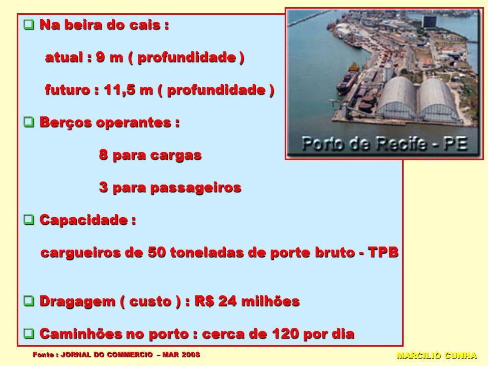 Na beira do cais : Na beira do cais : atual : 9 m ( profundidade ) atual : 9 m ( profundidade ) futuro : 11,5 m ( profundidade ) futuro : 11,5 m ( profundidade ) Berços operantes : Berços operantes : 8 para cargas 8 para cargas 3 para passageiros 3 para passageiros Capacidade : Capacidade : cargueiros de 50 toneladas de porte bruto - TPB cargueiros de 50 toneladas de porte bruto - TPB Dragagem ( custo ) : R$ 24 milhões Dragagem ( custo ) : R$ 24 milhões Caminhões no porto : cerca de 120 por dia Caminhões no porto : cerca de 120 por dia Fonte : JORNAL DO COMMERCIO – MAR 2008 MARCILIO CUNHA