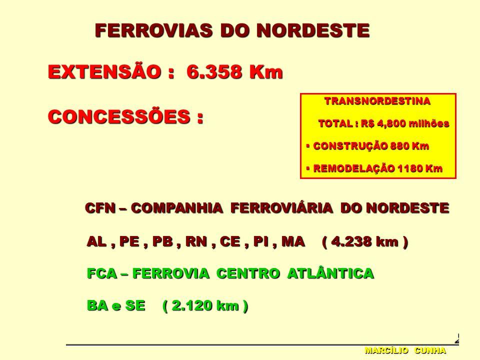 FERROVIAS DO NORDESTE MARCÍLIO CUNHA EXTENSÃO : 6.358 Km CONCESSÕES : CFN – COMPANHIA FERROVIÁRIA DO NORDESTE CFN – COMPANHIA FERROVIÁRIA DO NORDESTE AL, PE, PB, RN, CE, PI, MA ( 4.238 km ) AL, PE, PB, RN, CE, PI, MA ( 4.238 km ) FCA – FERROVIA CENTRO ATLÂNTICA FCA – FERROVIA CENTRO ATLÂNTICA BA e SE ( 2.120 km ) BA e SE ( 2.120 km ) TRANSNORDESTINA TRANSNORDESTINA TOTAL : R$ 4,800 milhões TOTAL : R$ 4,800 milhões CONSTRUÇÃO 880 Km CONSTRUÇÃO 880 Km REMODELAÇÃO 1180 Km REMODELAÇÃO 1180 Km