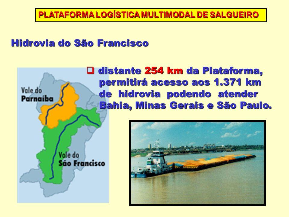 distante 254 km da Plataforma, distante 254 km da Plataforma, permitirá acesso aos 1.371 km permitirá acesso aos 1.371 km de hidrovia podendo atender de hidrovia podendo atender Bahia, Minas Gerais e São Paulo.