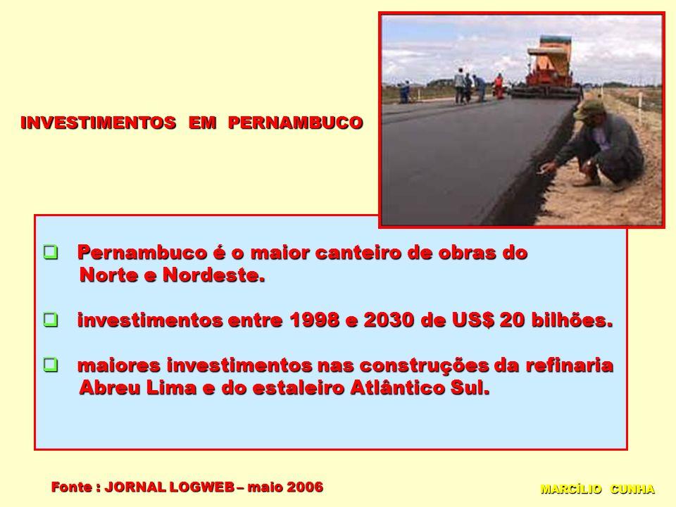 INVESTIMENTOS EM PERNAMBUCO MARCÍLIO CUNHA Pernambuco é o maior canteiro de obras do Pernambuco é o maior canteiro de obras do Norte e Nordeste. Norte