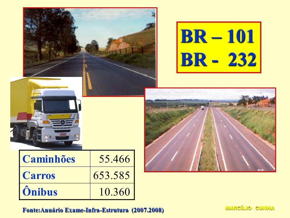 BR – 101 BR - 232 MARCÍLIO CUNHA Caminhões 55.466 Carros653.585 Ônibus 10.360 Fonte:Anuário Exame-Infra-Estrutura (2007.2008)