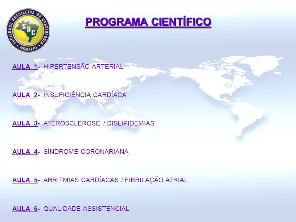 AULA 1- HIPERTENSÃO ARTERIAL AULA 2- INSUFICIÊNCIA CARDÍACA AULA 3- ATEROSCLEROSE / DISLIPIDEMIAS AULA 4- SÍNDROME CORONARIANA AULA 5- ARRITMIAS CARDÍACAS / FIBRILAÇÃO ATRIAL AULA 6- QUALIDADE ASSISTENCIAL PROGRAMA CIENTÍFICO
