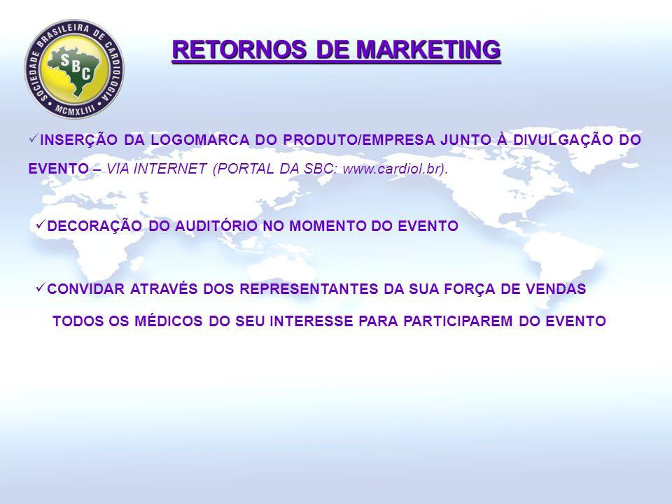 INSERÇÃO DA LOGOMARCA DO PRODUTO/EMPRESA JUNTO À DIVULGAÇÃO DO EVENTO – VIA INTERNET (PORTAL DA SBC: www.cardiol.br).