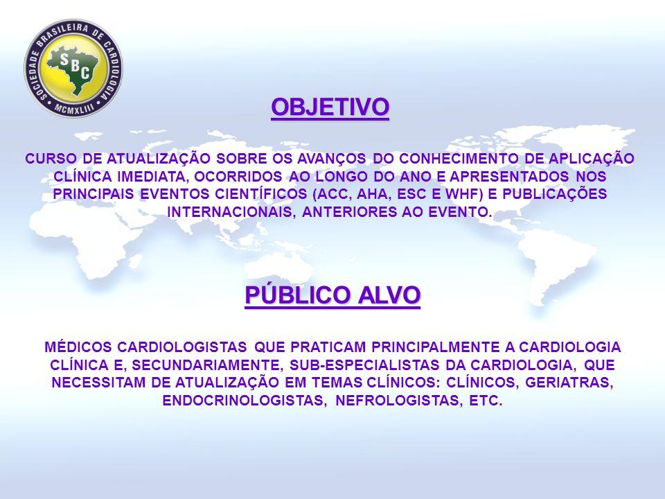 OBJETIVO OBJETIVO CURSO DE ATUALIZAÇÃO SOBRE OS AVANÇOS DO CONHECIMENTO DE APLICAÇÃO CLÍNICA IMEDIATA, OCORRIDOS AO LONGO DO ANO E APRESENTADOS NOS PRINCIPAIS EVENTOS CIENTÍFICOS (ACC, AHA, ESC E WHF) E PUBLICAÇÕES INTERNACIONAIS, ANTERIORES AO EVENTO.