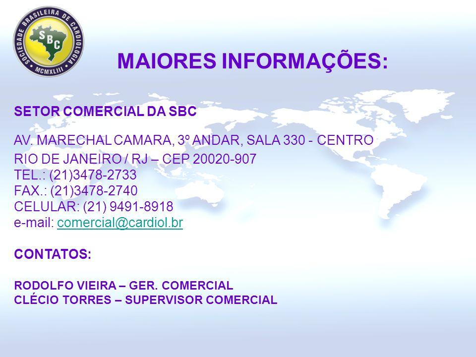 MAIORES INFORMAÇÕES: SETOR COMERCIAL DA SBC AV.