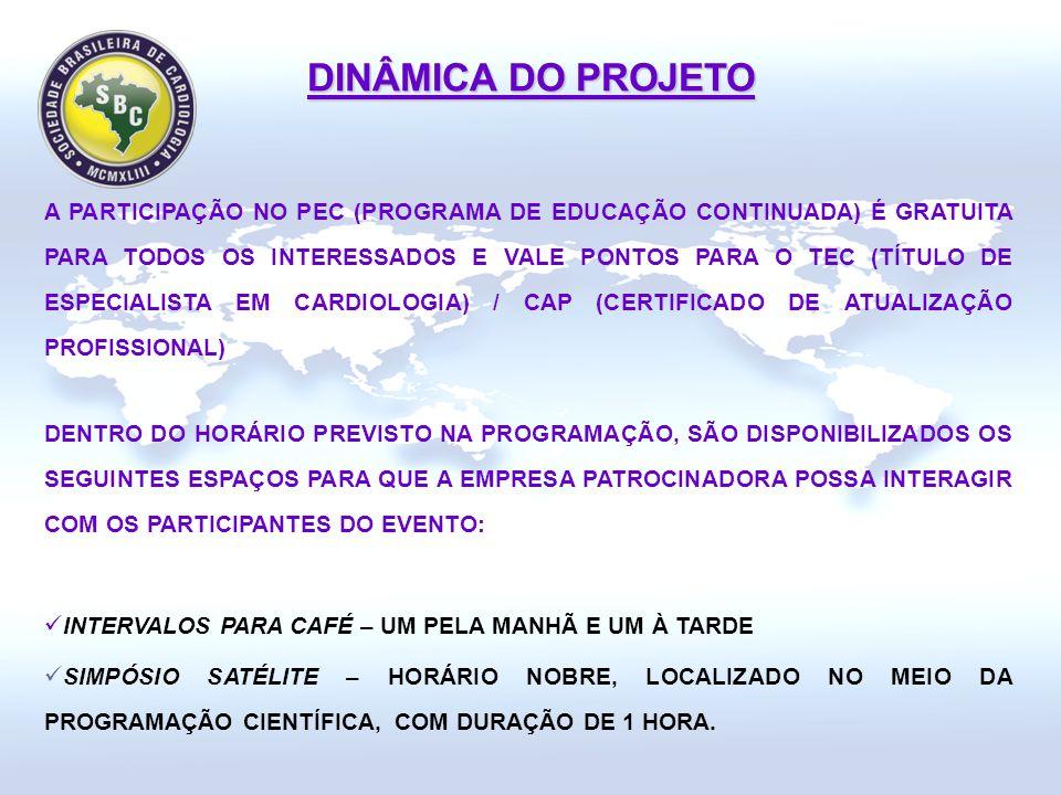 A PARTICIPAÇÃO NO PEC (PROGRAMA DE EDUCAÇÃO CONTINUADA) É GRATUITA PARA TODOS OS INTERESSADOS E VALE PONTOS PARA O TEC (TÍTULO DE ESPECIALISTA EM CARDIOLOGIA) / CAP (CERTIFICADO DE ATUALIZAÇÃO PROFISSIONAL) DINÂMICA DO PROJETO DENTRO DO HORÁRIO PREVISTO NA PROGRAMAÇÃO, SÃO DISPONIBILIZADOS OS SEGUINTES ESPAÇOS PARA QUE A EMPRESA PATROCINADORA POSSA INTERAGIR COM OS PARTICIPANTES DO EVENTO: INTERVALOS PARA CAFÉ – UM PELA MANHÃ E UM À TARDE SIMPÓSIO SATÉLITE – HORÁRIO NOBRE, LOCALIZADO NO MEIO DA PROGRAMAÇÃO CIENTÍFICA, COM DURAÇÃO DE 1 HORA.