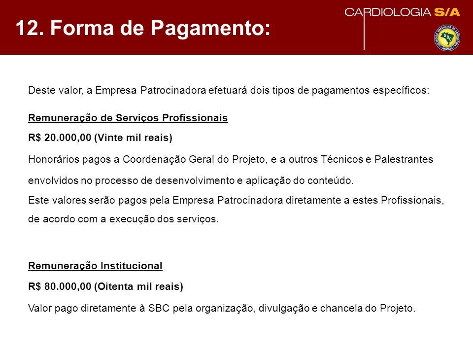 12. Forma de Pagamento: Deste valor, a Empresa Patrocinadora efetuará dois tipos de pagamentos específicos: Remuneração de Serviços Profissionais R$ 2