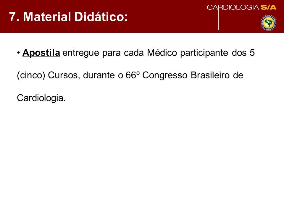 7. Material Didático: Apostila entregue para cada Médico participante dos 5 (cinco) Cursos, durante o 66º Congresso Brasileiro de Cardiologia.