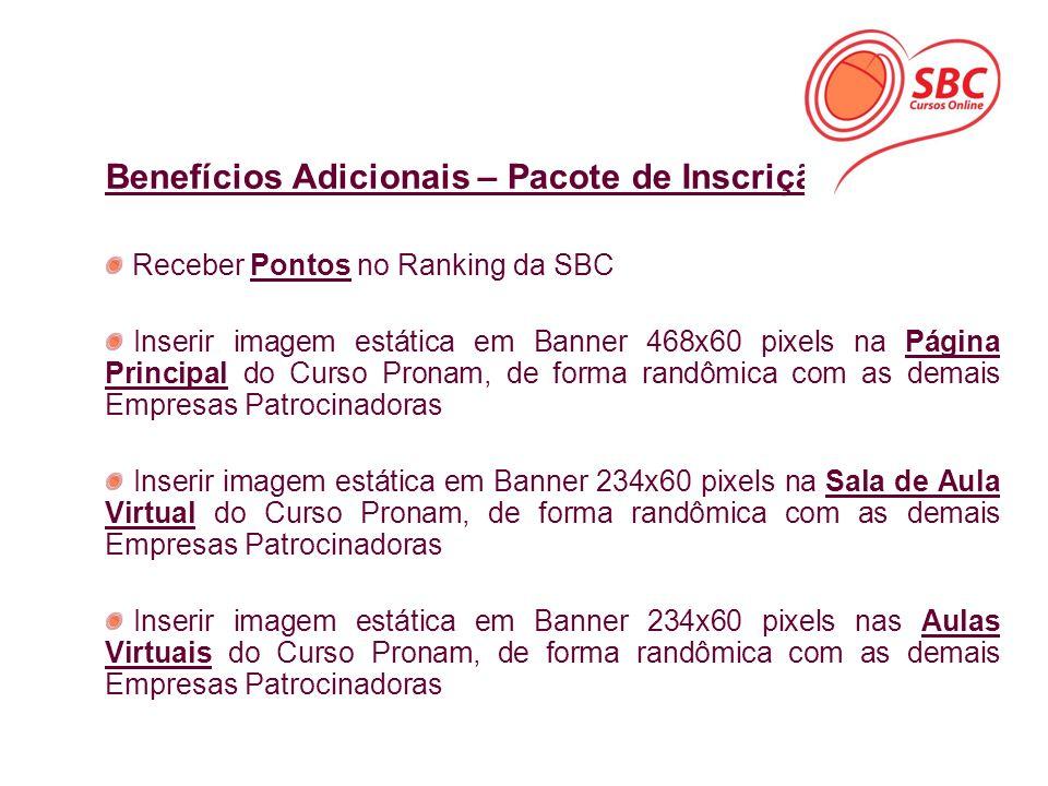 Benefícios Adicionais – Pacote de Inscrição Receber Pontos no Ranking da SBC Inserir imagem estática em Banner 468x60 pixels na Página Principal do Cu