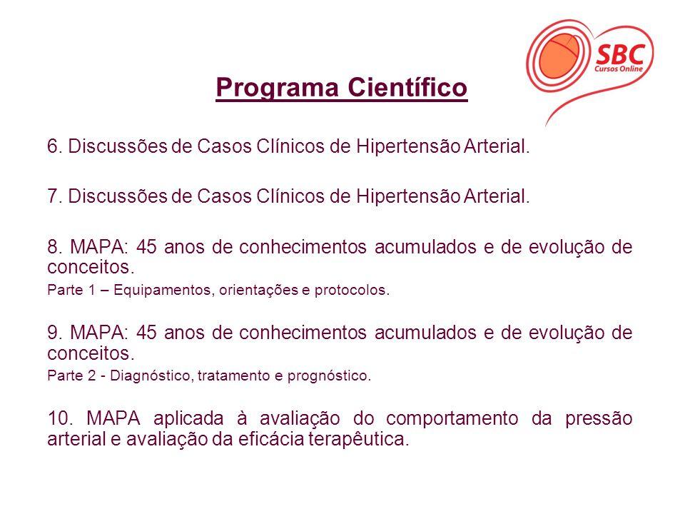 6. Discussões de Casos Clínicos de Hipertensão Arterial. 7. Discussões de Casos Clínicos de Hipertensão Arterial. 8. MAPA: 45 anos de conhecimentos ac