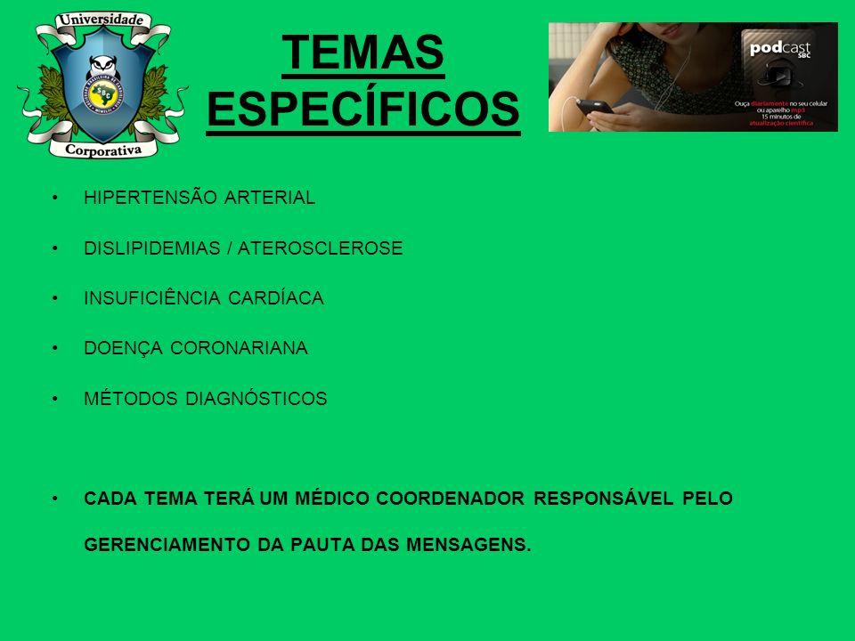 TEMAS ESPECÍFICOS HIPERTENSÃO ARTERIAL DISLIPIDEMIAS / ATEROSCLEROSE INSUFICIÊNCIA CARDÍACA DOENÇA CORONARIANA MÉTODOS DIAGNÓSTICOS CADA TEMA TERÁ UM