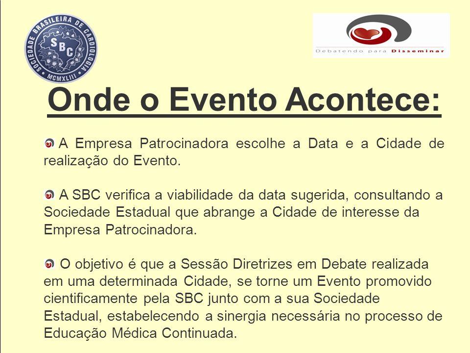 Onde o Evento Acontece: A Empresa Patrocinadora escolhe a Data e a Cidade de realização do Evento. A SBC verifica a viabilidade da data sugerida, cons