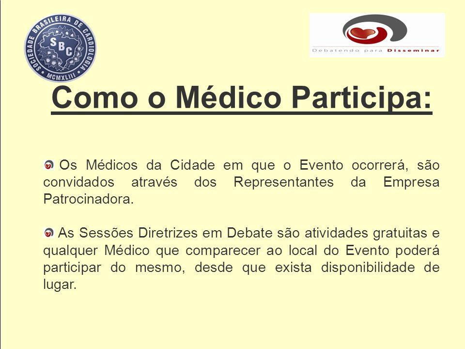 Como o Médico Participa: Os Médicos da Cidade em que o Evento ocorrerá, são convidados através dos Representantes da Empresa Patrocinadora. As Sessões