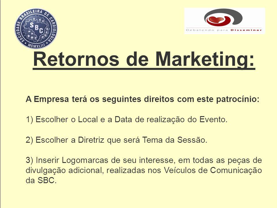 Retornos de Marketing: A Empresa terá os seguintes direitos com este patrocínio: 1) Escolher o Local e a Data de realização do Evento. 2) Escolher a D