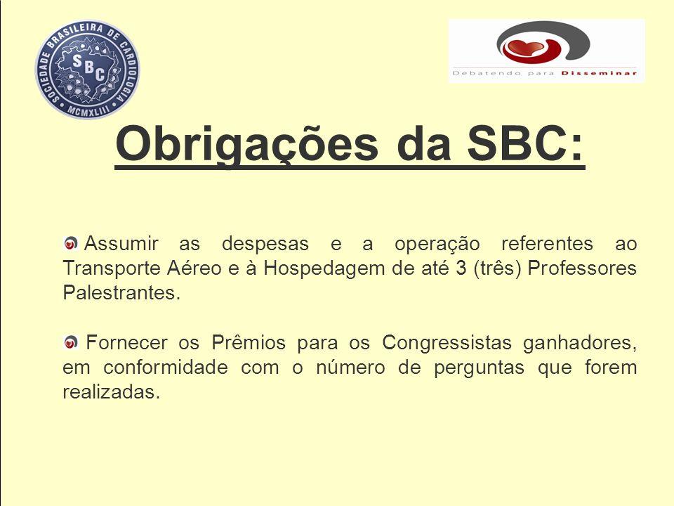 Obrigações da SBC: Assumir as despesas e a operação referentes ao Transporte Aéreo e à Hospedagem de até 3 (três) Professores Palestrantes. Fornecer o
