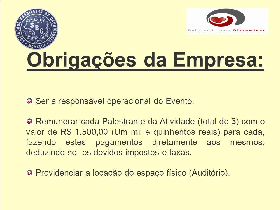Obrigações da Empresa: Ser a responsável operacional do Evento. Remunerar cada Palestrante da Atividade (total de 3) com o valor de R$ 1.500,00 (Um mi
