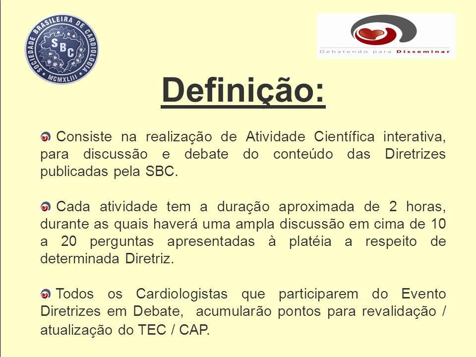 Definição: Consiste na realização de Atividade Científica interativa, para discussão e debate do conteúdo das Diretrizes publicadas pela SBC. Cada ati