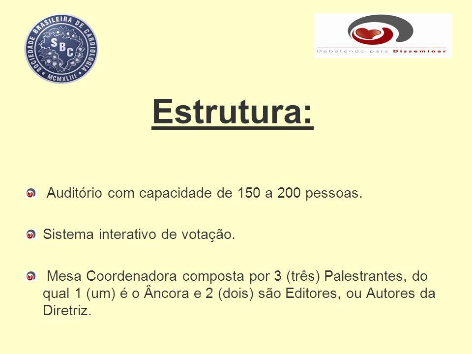 Estrutura: Auditório com capacidade de 150 a 200 pessoas. Sistema interativo de votação. Mesa Coordenadora composta por 3 (três) Palestrantes, do qual