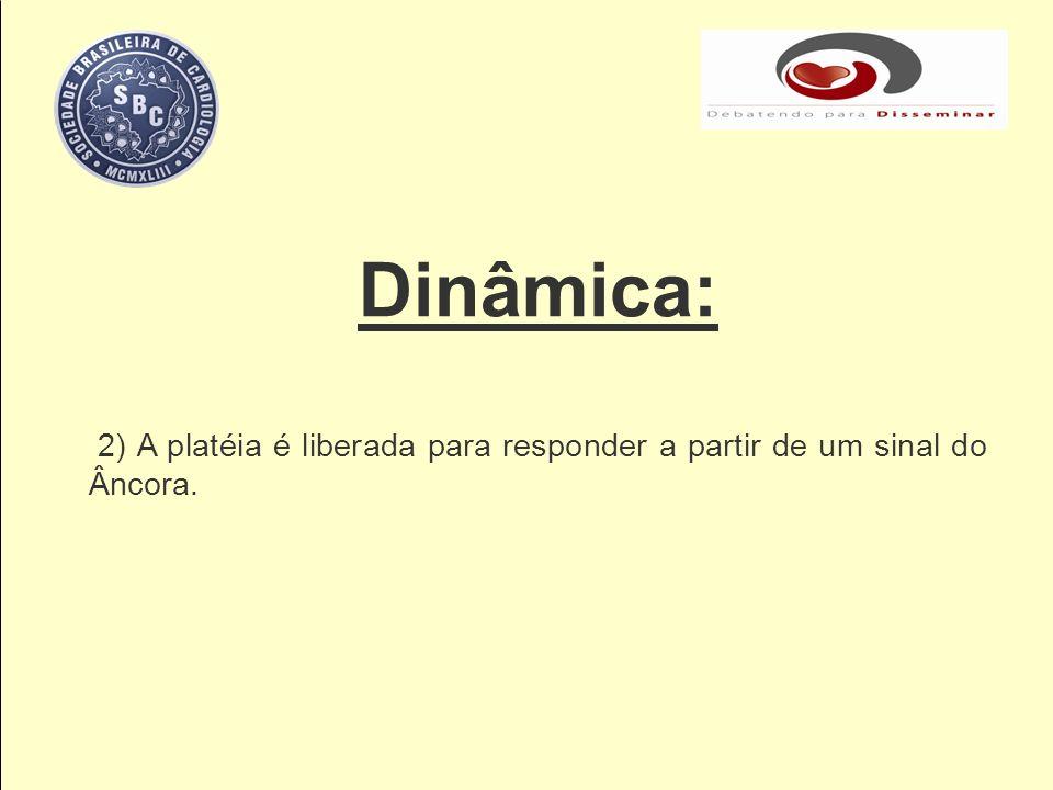 Dinâmica: 2) A platéia é liberada para responder a partir de um sinal do Âncora.