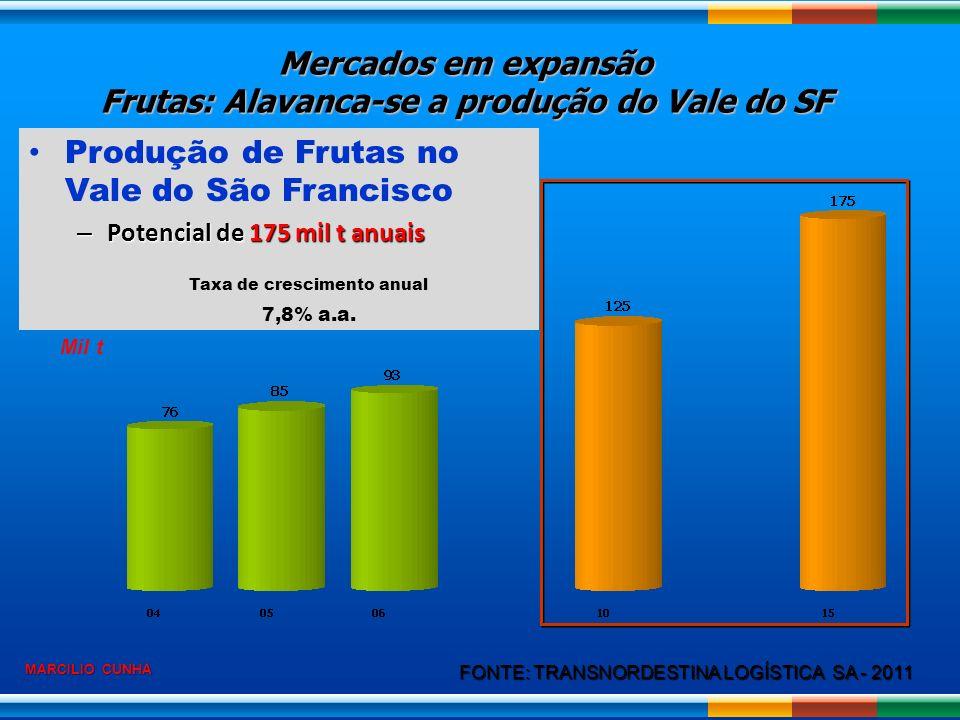 Produção de Frutas no Vale do São Francisco – Potencial de 175 mil t anuais FONTE: TRANSNORDESTINA LOGÍSTICA SA - 2011 Mil t Taxa de crescimento anual