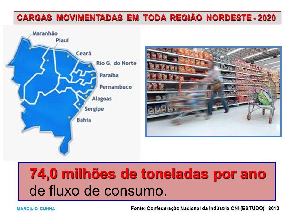 CARGAS MOVIMENTADAS EM TODA REGIÃO NORDESTE - 2020 74,0 milhões de toneladas por ano de fluxo de consumo. Fonte: Confederação Nacional da Indústria CN