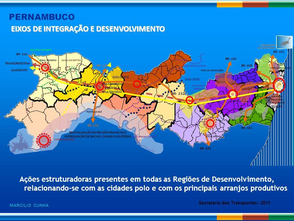 PERNAMBUCO POLO DE CONFECÇÕES CANAL DO SERTÃO EIXO NORTE EIXO LESTE BACIA LEITEIRA BR- 408 BR- 232 BR- 101 BR- 104 BR- 116 BR- 316 REVITALIZAÇÃO DO RI