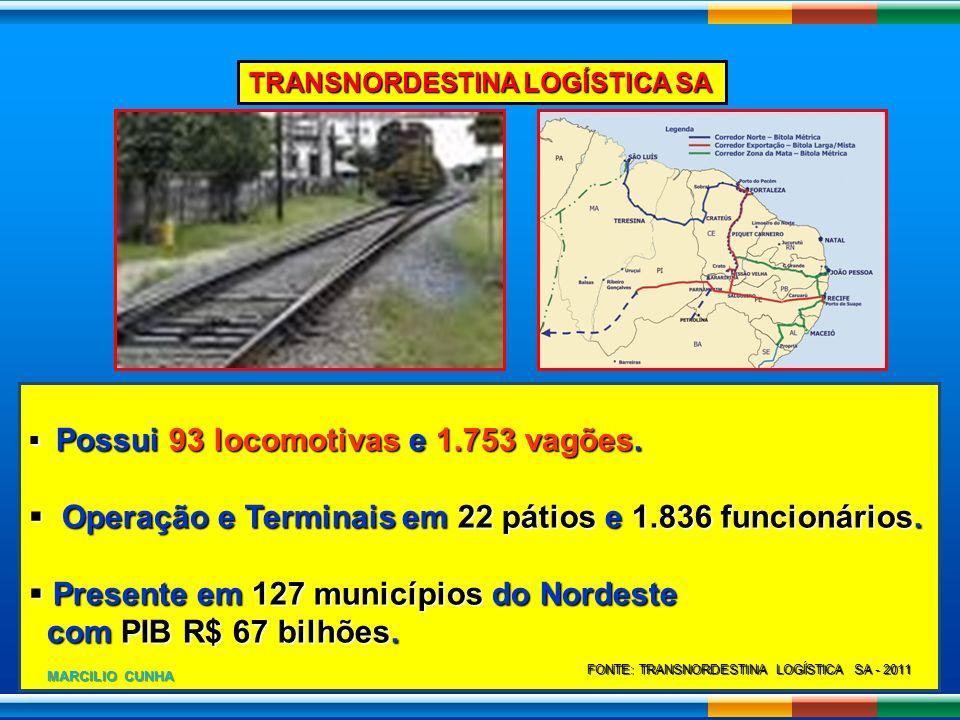 TRANSNORDESTINA LOGÍSTICA SA Possui 93 locomotivas e 1.753 vagões. Possui 93 locomotivas e 1.753 vagões. Operação e Terminais em 22 pátios e 1.836 fun