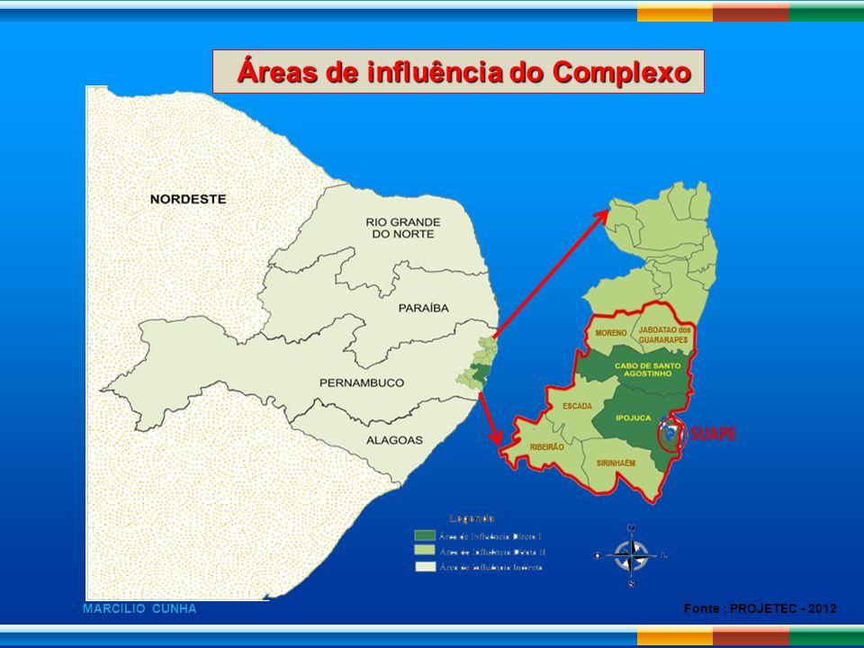 Fonte : PROJETEC - 2012 Áreas de influência do Complexo Áreas de influência do Complexo MARCILIO CUNHA