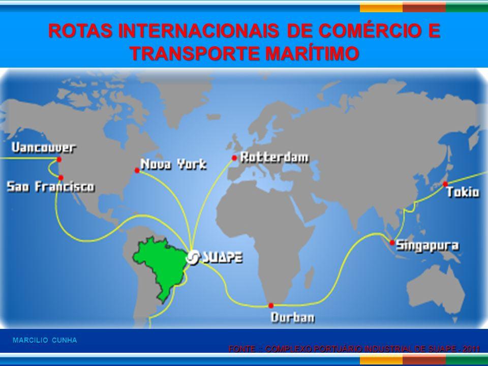 FONTE :: COMPLEXO PORTUÁRIO INDUSTRIAL DE SUAPE - 2011 FONTE :: COMPLEXO PORTUÁRIO INDUSTRIAL DE SUAPE - 2011 ROTAS INTERNACIONAIS DE COMÉRCIO E TRANS