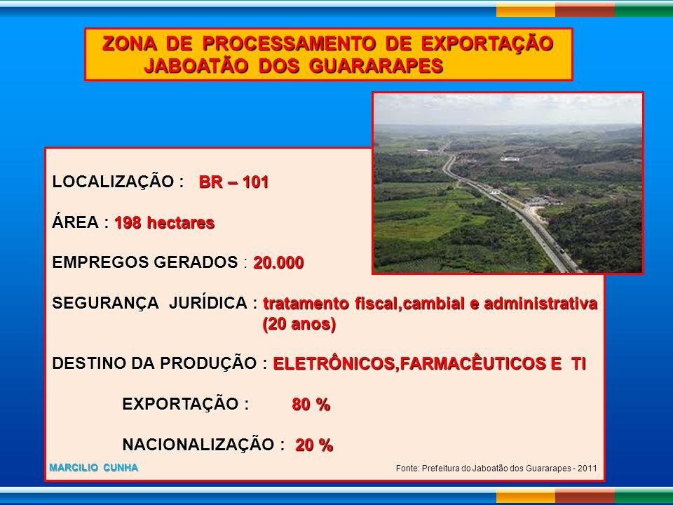 ZONA DE PROCESSAMENTO DE EXPORTAÇÃO JABOATÃO DOS GUARARAPES JABOATÃO DOS GUARARAPES LOCALIZAÇÃO : BR – 101 ÁREA : 198 hectares EMPREGOS GERADOS : 20.0