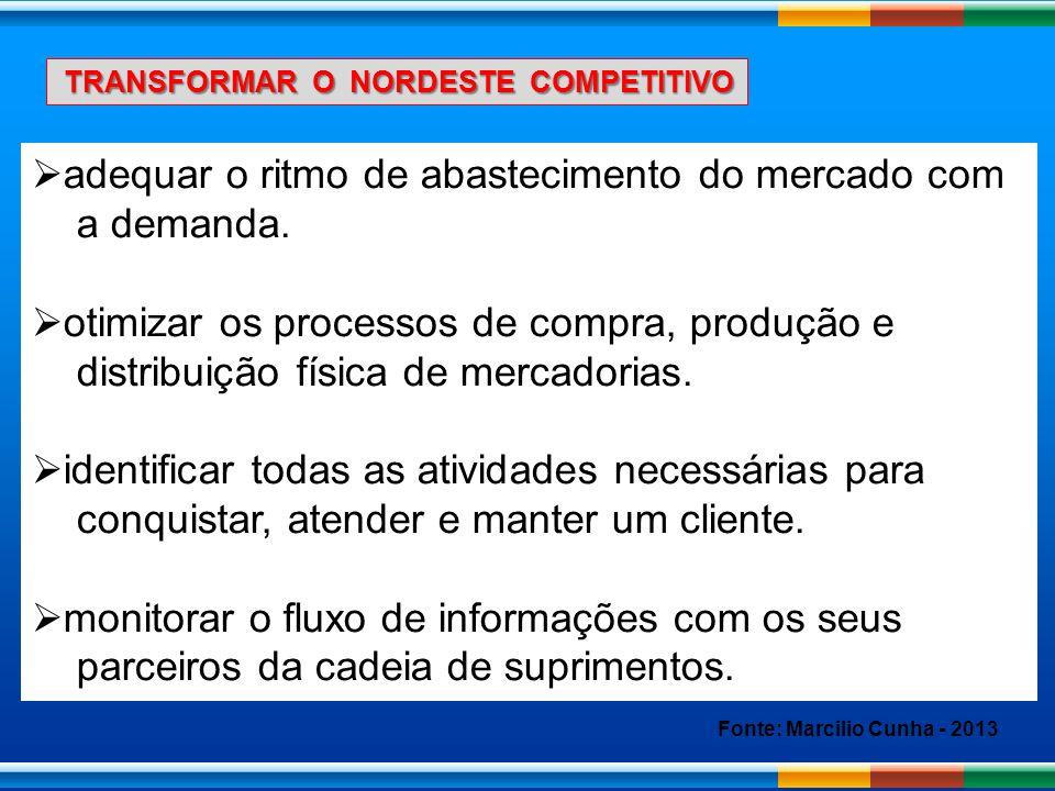 TRANSFORMAR O NORDESTE COMPETITIVO TRANSFORMAR O NORDESTE COMPETITIVO adequar o ritmo de abastecimento do mercado com a demanda. otimizar os processos