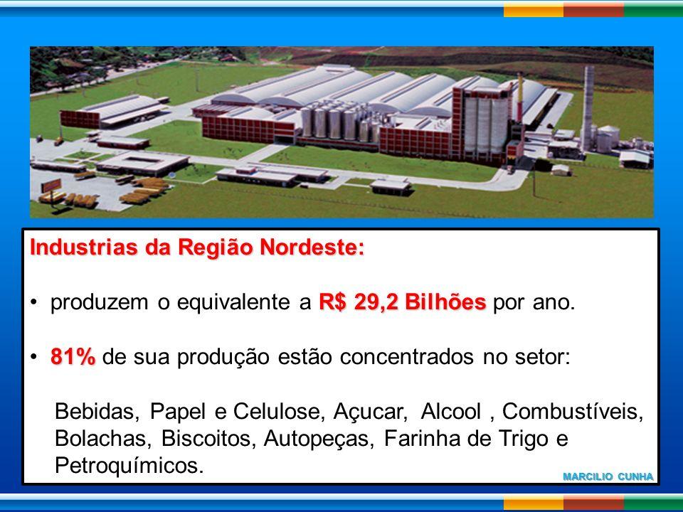Industrias da Região Nordeste: R$ 29,2 Bilhões produzem o equivalente a R$ 29,2 Bilhões por ano. 81% 81% de sua produção estão concentrados no setor: