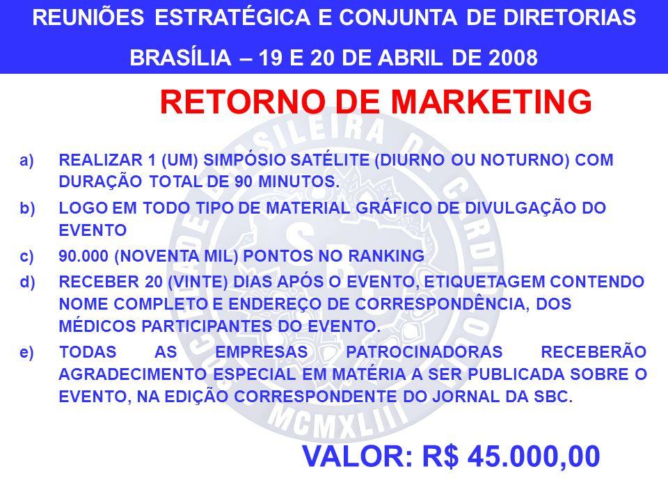 VALOR: R$ 45.000,00 a)REALIZAR 1 (UM) SIMPÓSIO SATÉLITE (DIURNO OU NOTURNO) COM DURAÇÃO TOTAL DE 90 MINUTOS.