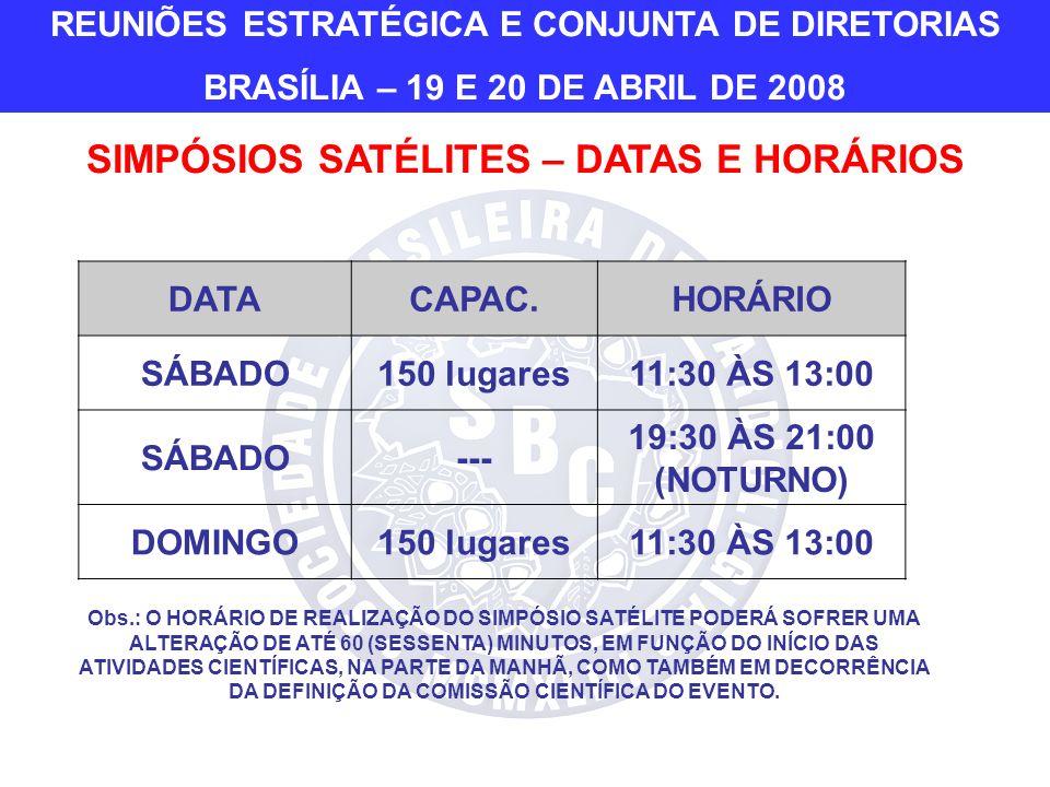 DATACAPAC.HORÁRIO SÁBADO150 lugares11:30 ÀS 13:00 SÁBADO--- 19:30 ÀS 21:00 (NOTURNO) DOMINGO150 lugares11:30 ÀS 13:00 Obs.: O HORÁRIO DE REALIZAÇÃO DO SIMPÓSIO SATÉLITE PODERÁ SOFRER UMA ALTERAÇÃO DE ATÉ 60 (SESSENTA) MINUTOS, EM FUNÇÃO DO INÍCIO DAS ATIVIDADES CIENTÍFICAS, NA PARTE DA MANHÃ, COMO TAMBÉM EM DECORRÊNCIA DA DEFINIÇÃO DA COMISSÃO CIENTÍFICA DO EVENTO.
