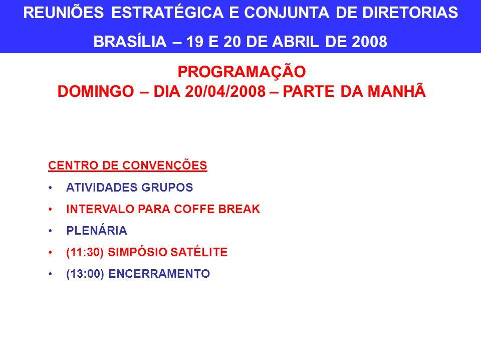 CENTRO DE CONVENÇÕES ATIVIDADES GRUPOS INTERVALO PARA COFFE BREAK PLENÁRIA (11:30) SIMPÓSIO SATÉLITE (13:00) ENCERRAMENTO PROGRAMAÇÃO DOMINGO – DIA 20/04/2008 – PARTE DA MANHÃ REUNIÕES ESTRATÉGICA E CONJUNTA DE DIRETORIAS BRASÍLIA – 19 E 20 DE ABRIL DE 2008