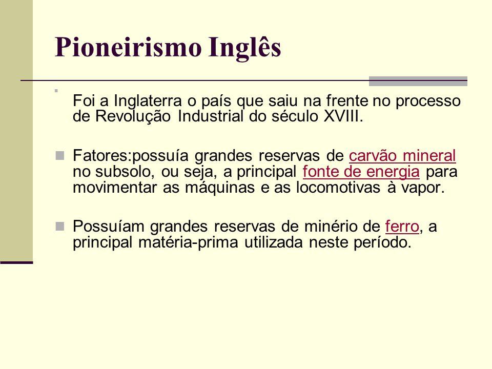Pioneirismo Inglês Foi a Inglaterra o país que saiu na frente no processo de Revolução Industrial do século XVIII. Fatores:possuía grandes reservas de
