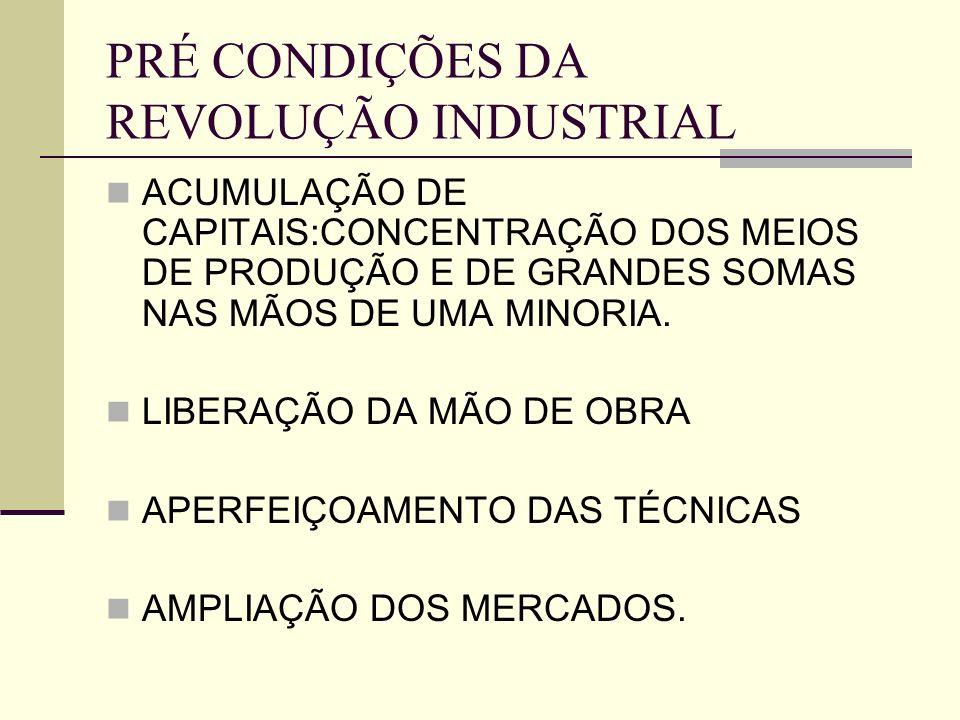 PRÉ CONDIÇÕES DA REVOLUÇÃO INDUSTRIAL ACUMULAÇÃO DE CAPITAIS:CONCENTRAÇÃO DOS MEIOS DE PRODUÇÃO E DE GRANDES SOMAS NAS MÃOS DE UMA MINORIA. LIBERAÇÃO