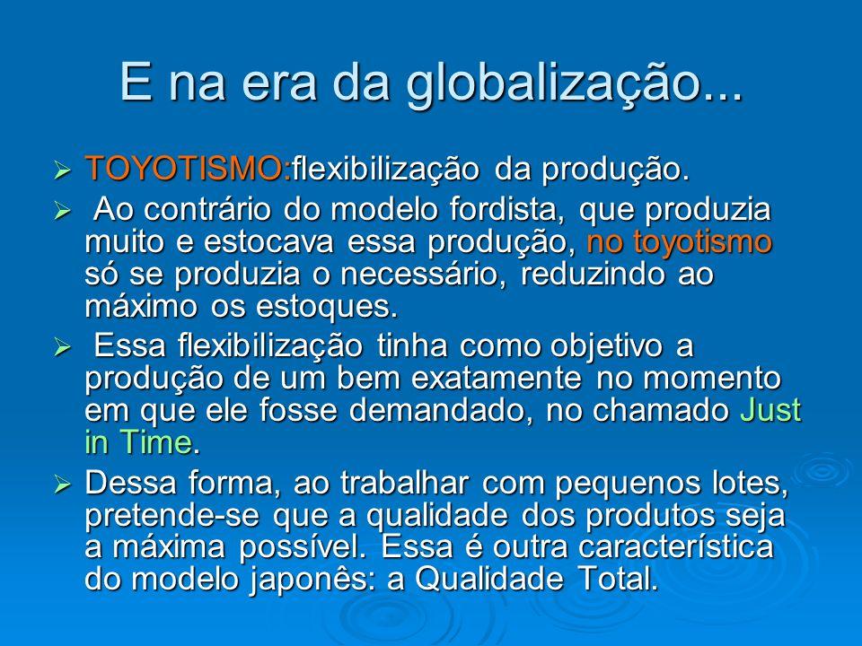 E na era da globalização... TOYOTISMO:flexibilização da produção. TOYOTISMO:flexibilização da produção. Ao contrário do modelo fordista, que produzia