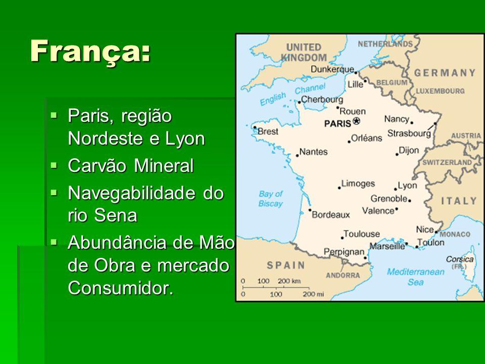 França: Paris, região Nordeste e Lyon Paris, região Nordeste e Lyon Carvão Mineral Carvão Mineral Navegabilidade do rio Sena Navegabilidade do rio Sen