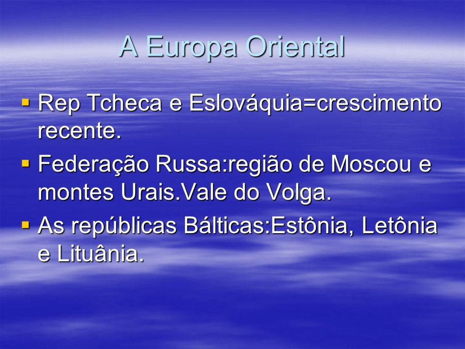 A Europa Oriental Rep Tcheca e Eslováquia=crescimento recente. Rep Tcheca e Eslováquia=crescimento recente. Federação Russa:região de Moscou e montes