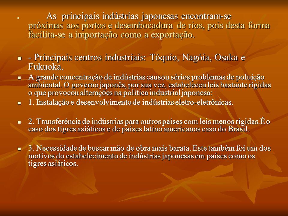 As principais indústrias japonesas encontram-se próximas aos portos e desembocadura de rios, pois desta forma facilita-se a importação como a exportaç