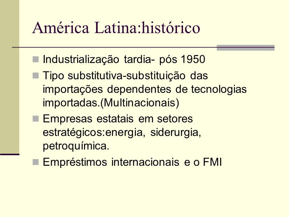 América Latina:histórico Industrialização tardia- pós 1950 Tipo substitutiva-substituição das importações dependentes de tecnologias importadas.(Multi